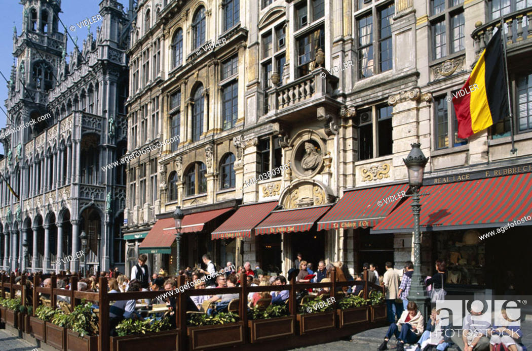 Stock Photo: Belgium, Brussels, Grand' Place,  Street cafe  Series, Benelux, capital, residence city, capital, big place, market place, gable houses, house facades.