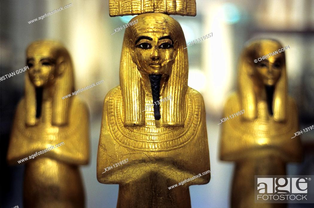 Stock Photo: gold statuettes, tomb of Tutankhamun, Museum of Egyptian Antiquities, Cairo, Egypt, Africa.