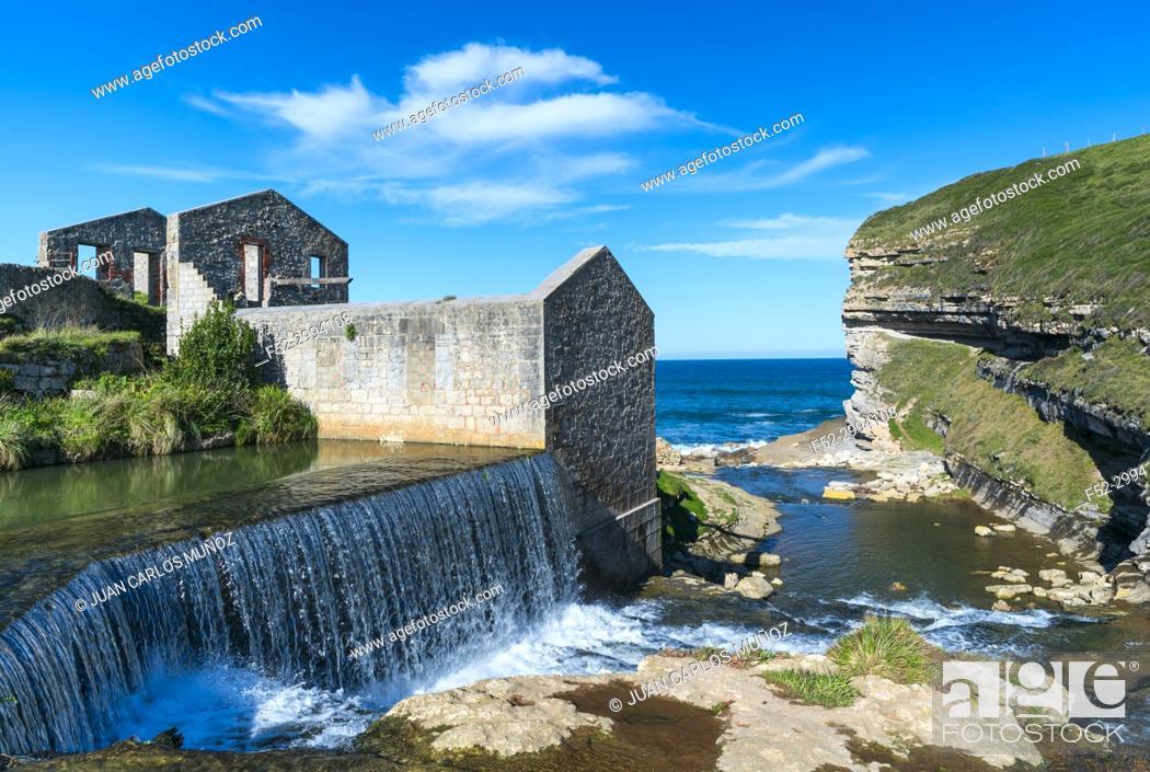 Stock Photo: Molino El Bolao, El Molino Waterfall, Cóbreces, Alfoz de Loredo municipality, Cantabria, Spain, Europe.