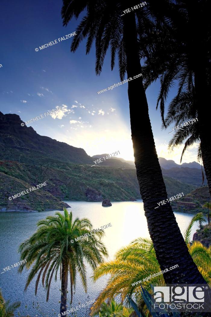 Stock Photo: Canary Islands, Gran Canaria, Santa Lucia, La Sorrueda Reservoir.