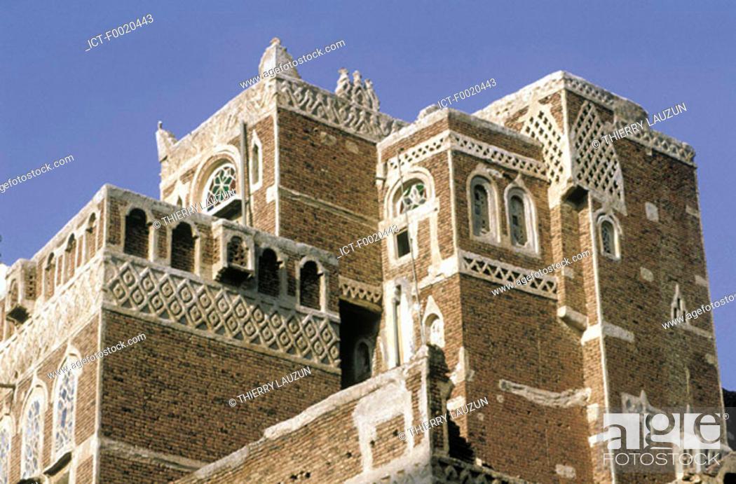 Stock Photo: Yemen, Sanaa, house build in adobe.