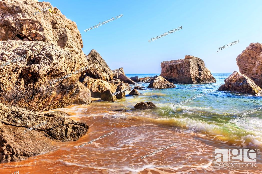 Stock Photo: Ocean of Sesimbra. The resort is situated in Portugal, close to capital Lisbon.