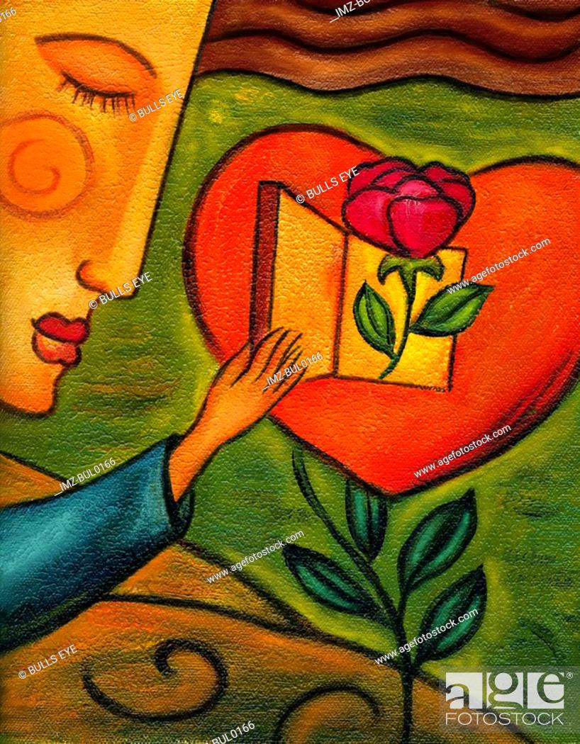 Stock Photo: Woman opening the door to a heart that has a rose coming out of it.
