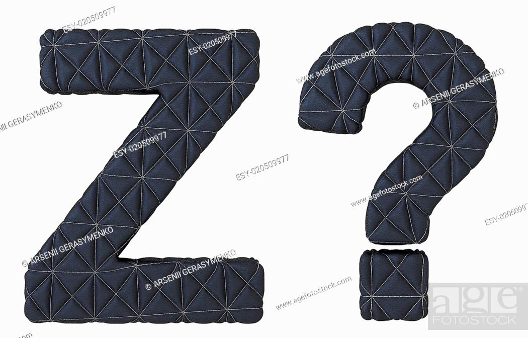 Stock Photo: Stitched leather font Z letter and query mark.