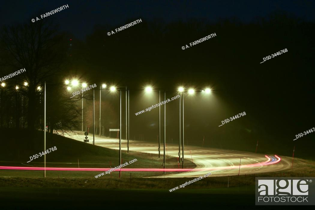 Stock Photo: Stockholm, Sweden The 261 highway at night out to Ekero.