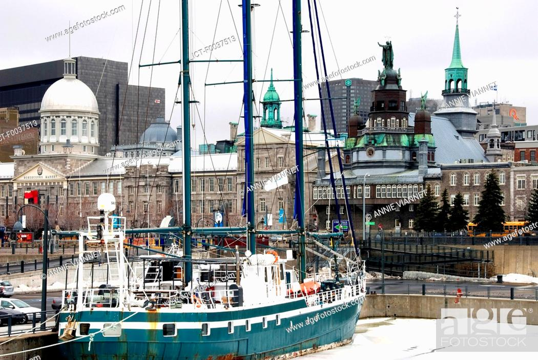 Stock Photo: Canada, Quebec, Montreal, Bassin Bonsecours, docked sailboat.