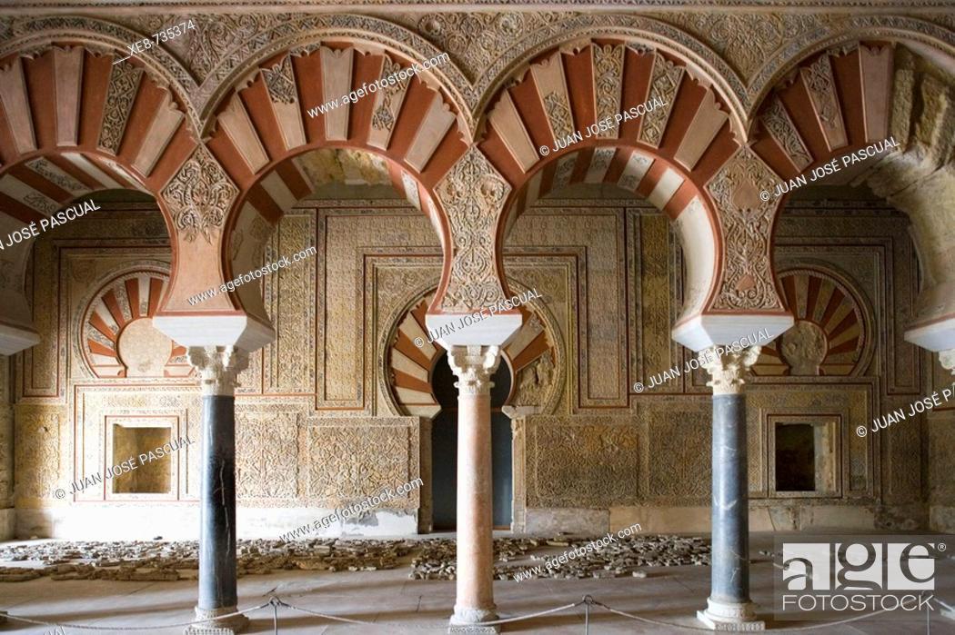 Stock Photo: Ambassadors' Hall of palace built by caliph Abd al-Rahman III, ruins of Medina Azahara. Cordoba province, Andalucia, Spain Cordoba province, Andalucia, Spain.