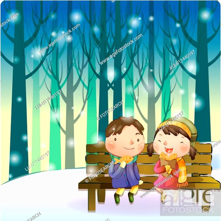 Stock Photo: bench, snow, couple, boy, girl, child.