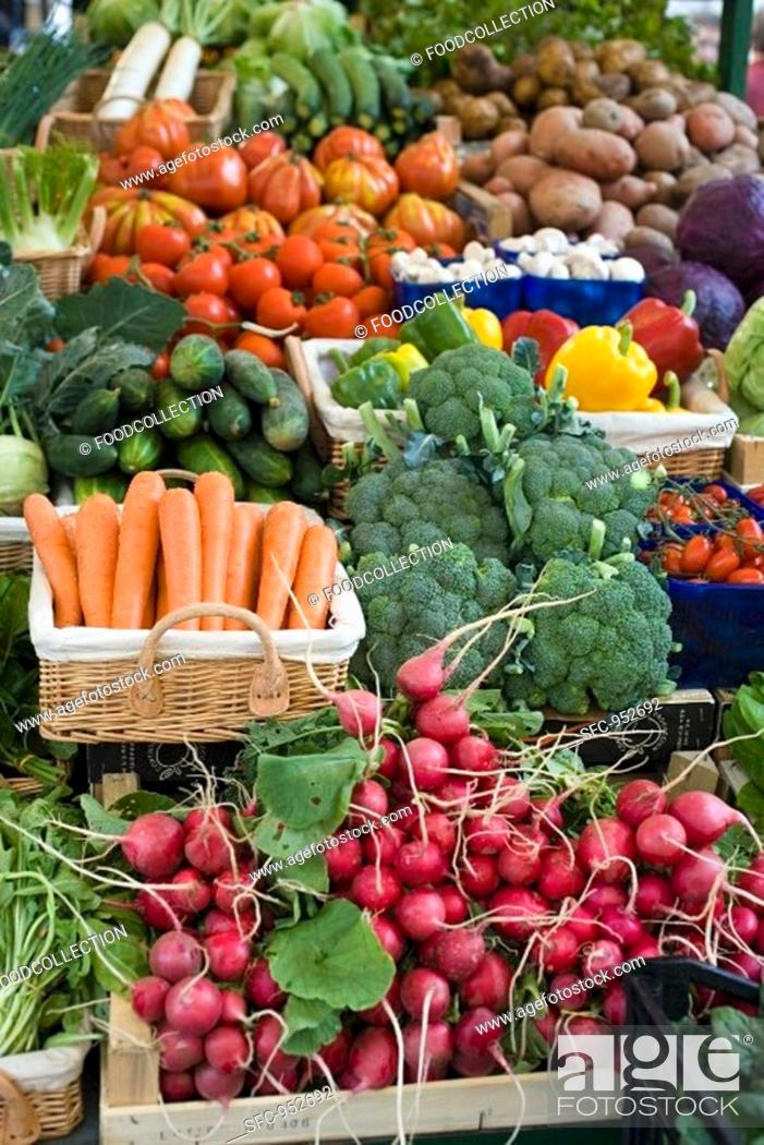 Stock Photo: Market stall with various kinds of vegetables.