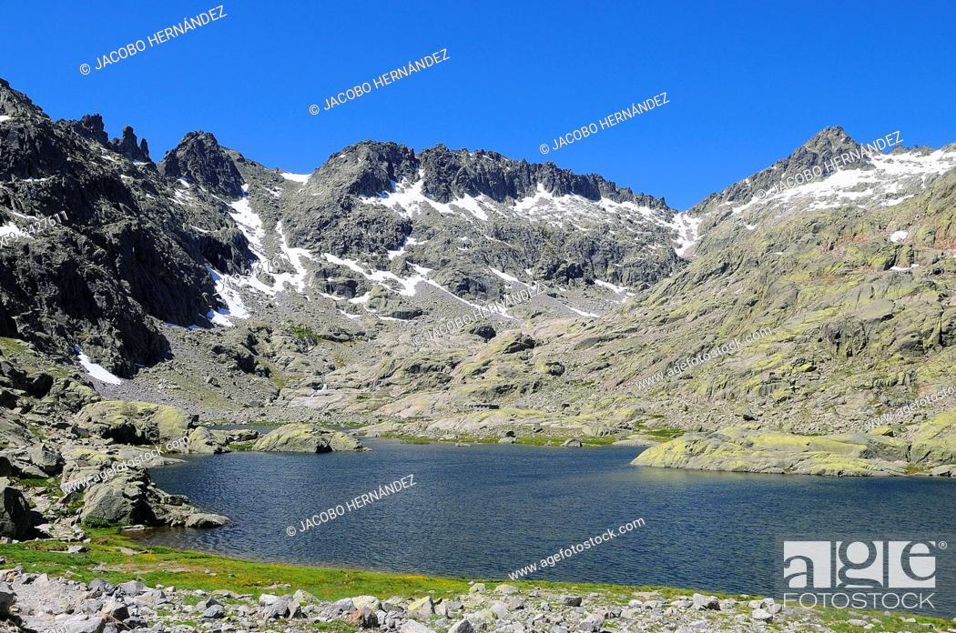 Stock Photo: Laguna Grande in Circo de Gredos. Sierra de Gredos Natural Park. Ávila province. Castilla y León. Spain.