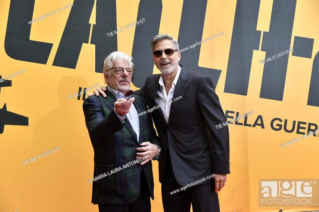 Stock Photo: Giancarlo Giannini, George Clooney during the photocall of fillm tv Catch-22, Rome, ITALY-13-05-2019.