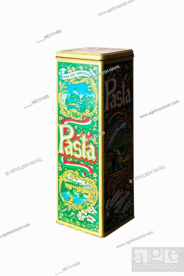 Stock Photo: Old pasta tin box.