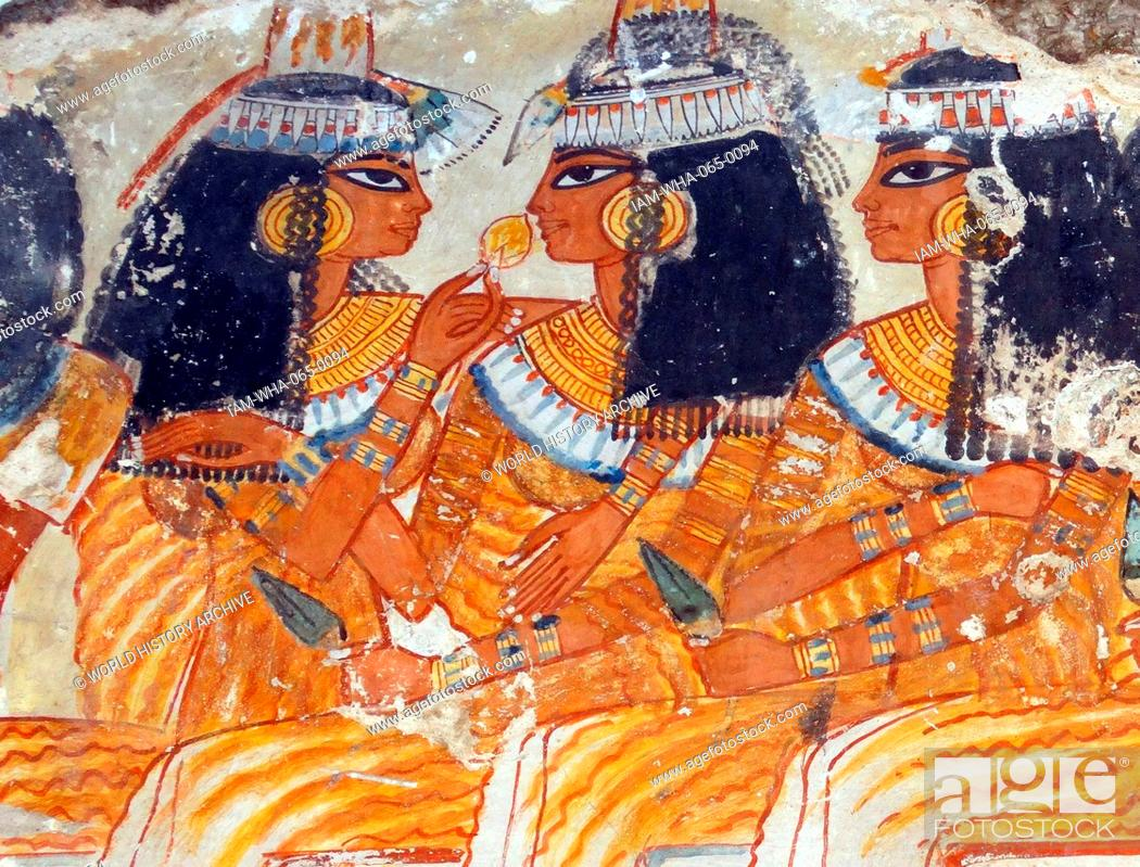 Stock Photo: Musicians from the top two registers of the banquet scene. 18th Dynasty, from the tomb of Nebamun, 1350-1370 BC.