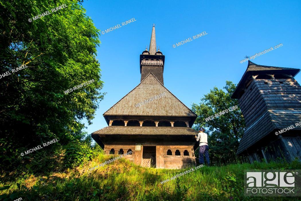 Stock Photo: Ukraine, Carpathian mountains, Sokyrnytsya, Church of St. Nicholas.