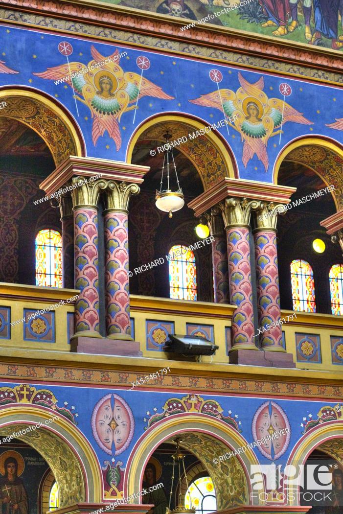 Stock Photo: Frescoes, Holy Trinity Cathedral, Founded 1902, Sibiu, Transylvania Region, Romania.