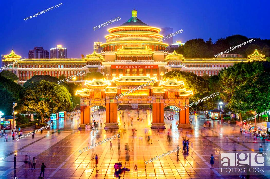 Stock Photo: Chongqing, China at Great Hall of the People and People's Square.