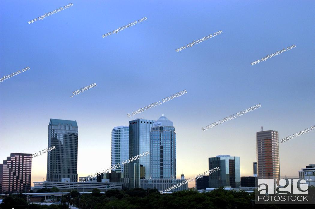 Stock Photo: Skyline of Tampa Florida at dusk.