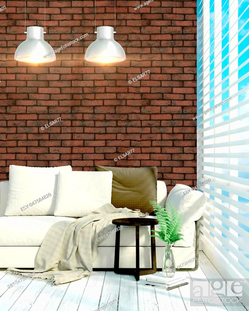 Stock Photo: Beautiful modern interior with sofa. 3D rendering.