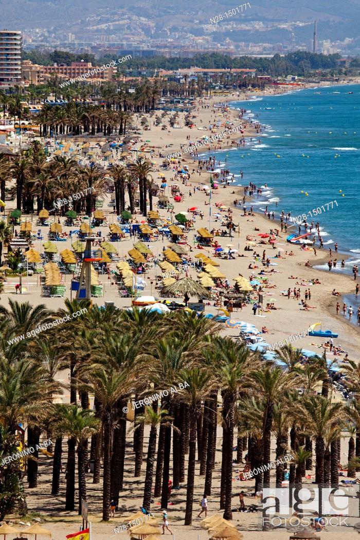 Stock Photo: Bajondillo beach, Torremolinos, Malaga Province, Costa del Sol, Andalusia, Spain.