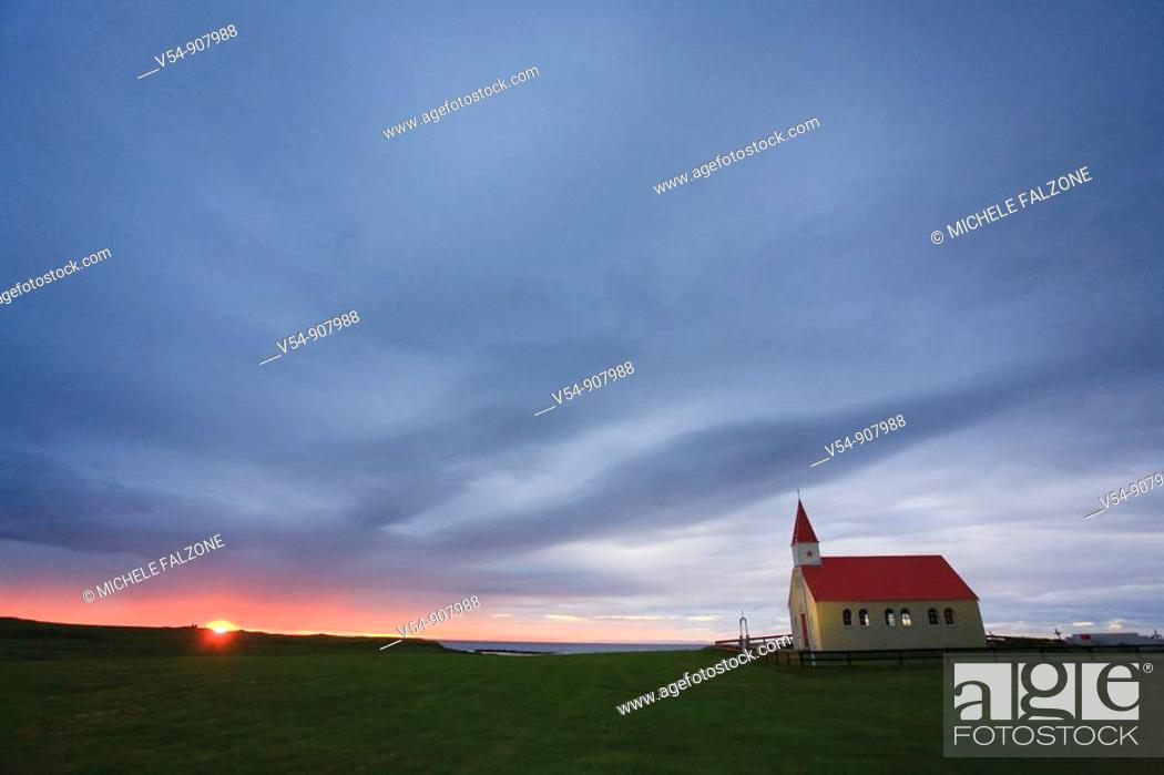 Stock Photo: Sundown Church, Brimilsvellir, Olafsvik, Snaefellsness Peninsula, Iceland.