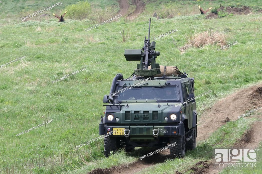 Stock Photo: Iveco LMV armoured vehicle is seen during the military exercise in Hradiste, Czech Republic, May 11, 2016. (CTK Photo/Jan Kouba).