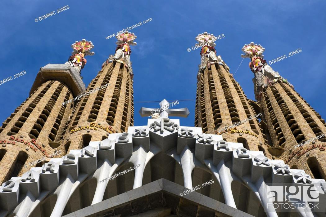 Stock Photo: Detail of the Nativity Facade of Sagrada Família.