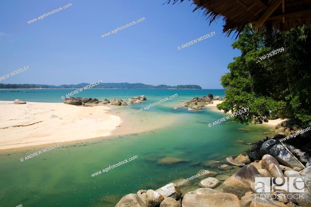 Stock Photo: River view and beach near Poseidon Bungalows Khao Lak Thailand.