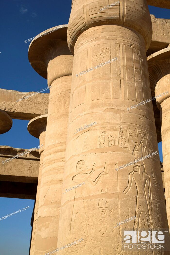 Imagen: Decorative Relief, Hypostyle Hall, The Ramesseum, Luxor, West Bank, Nile Valley, Egypt.