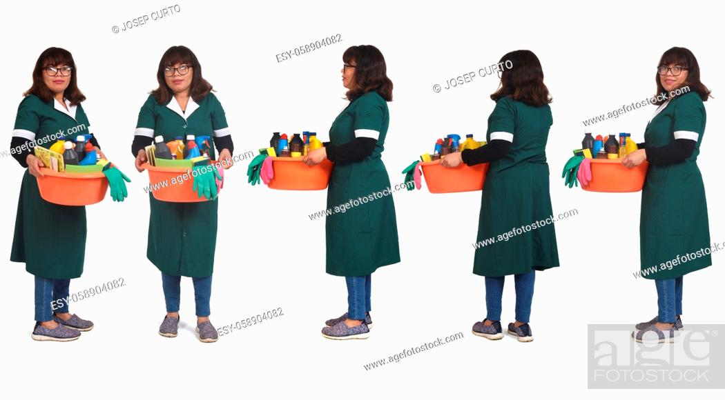 Stock Photo: front side and back view of full portrait woman with a bucket with cleaning products on white backgrounds.