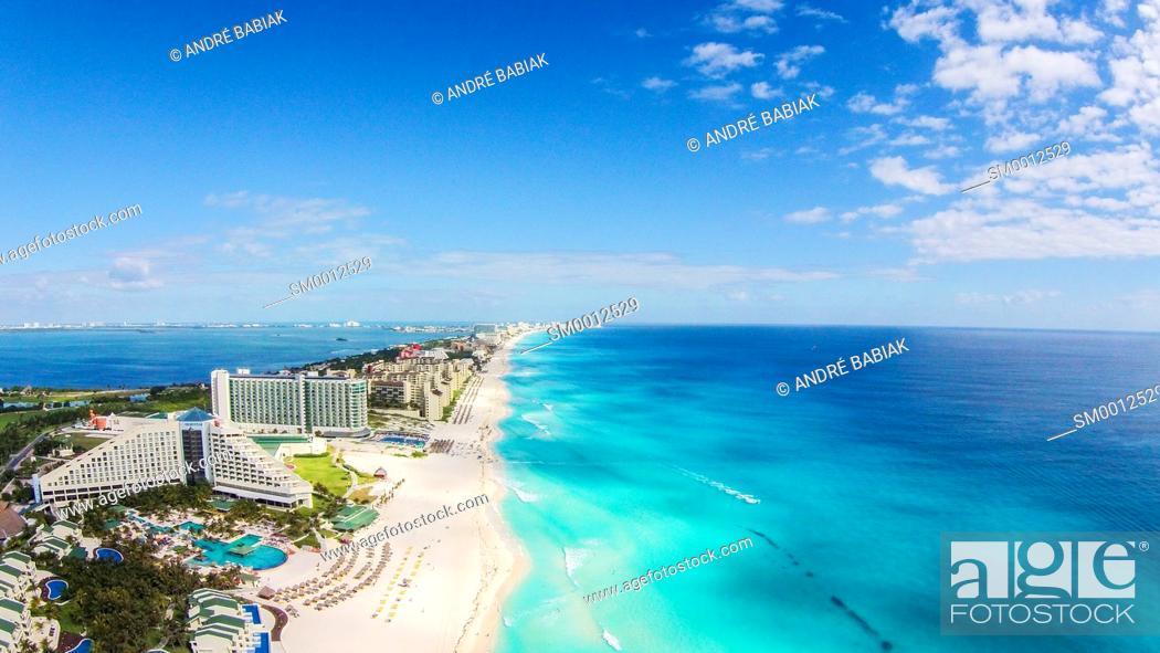 Stock Photo: Drone photo - Cancun Beach, Mexico.