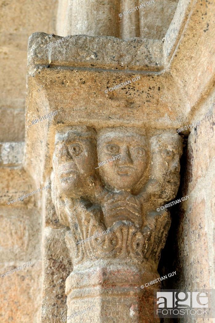 Stock Photo: Architectural detail, Dore l'Eglise, Romanesque church, Livradois-Forez Regional Natural Park, Haute Loire, Auvergne, France, Europe.
