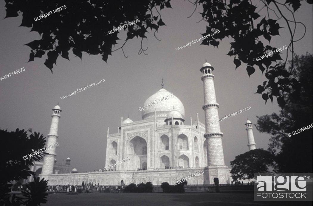 Stock Photo: Tourists in front of a monument, Taj Mahal, Agra, Uttar Pradesh, India.