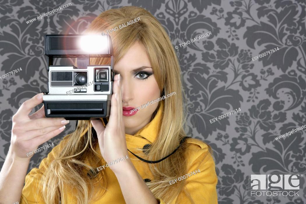 Stock Photo: fashion photographer retro camera reporter woman vintage wallpaper yellow coat.