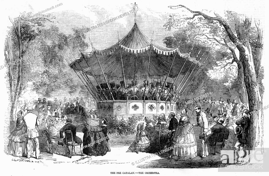 Stock Photo: A bandstand in the Pre Catelan, in the Bois de Boulogne, Paris, with people gathered round to hear a concert.