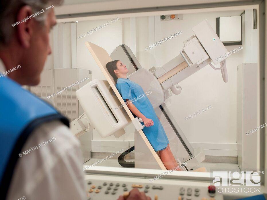 Stock Photo: Patient having an x-ray examination.