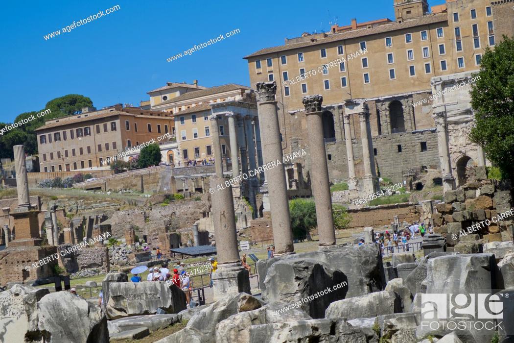 Stock Photo: Roman Forum, Foro Romano, World Heritage Site, Rome, Lazio, Italy, Europe.