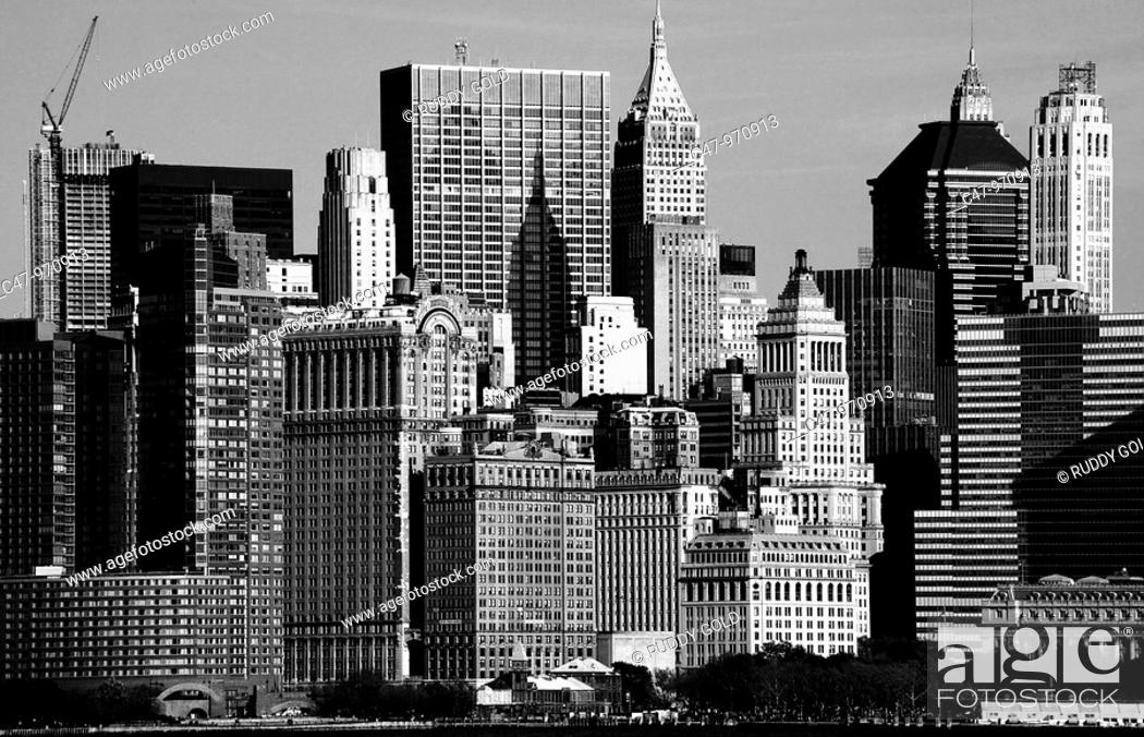 Stock Photo: Skyline of Lower Manhattan with Battery Park on the foreground, New York City, USA.