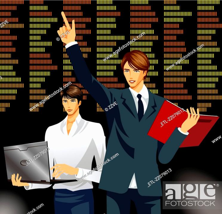 Stock Photo: Two businessman giving a sales presentation.