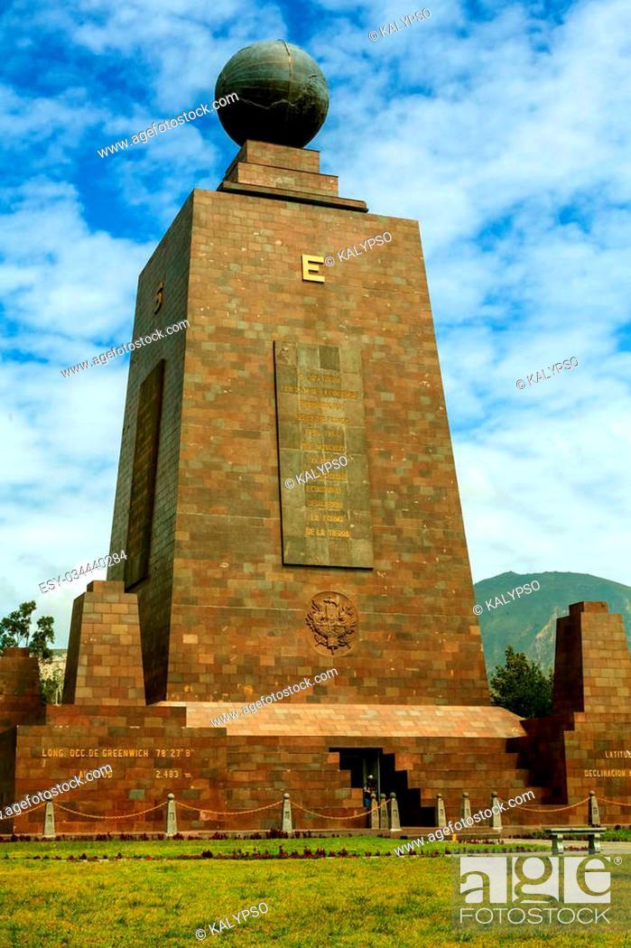 Stock Photo: Mitad Del Mundo Monument In Ecuador, South America.