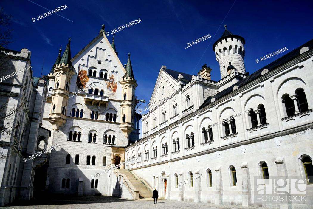 Stock Photo: Germany, Bavaria, Romantic Road (Romantische Strasse), Schwangau, Neuschwanstein Castle, 19th-century Romanesque Revival palace commissioned by Ludwig II of.
