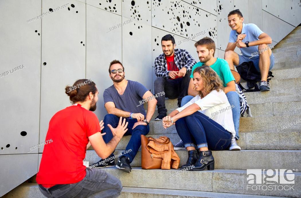 Imagen: Group of tourists and guide making a tour of the city, San Telmo Museum, Plaza Zuloaga, Donostia, San Sebastian, Gipuzkoa, Basque Country, Spain, Europe.
