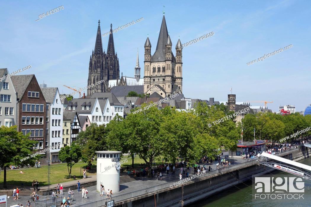 Imagen: Great St. Martin Church and Cologne Cathedral, Cologne, North Rhine-Westphalia, Germany.
