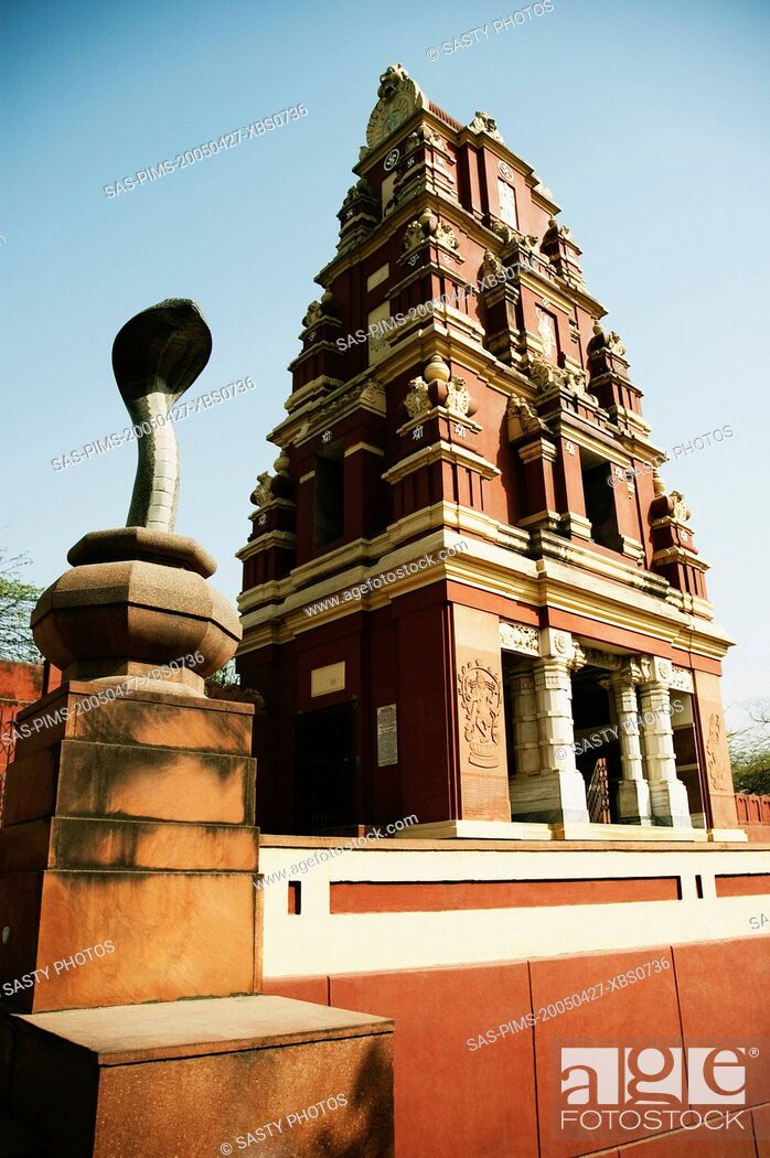 Stock Photo: Low angle view of a temple, Lakshmi Narayan Temple, New Delhi, India.