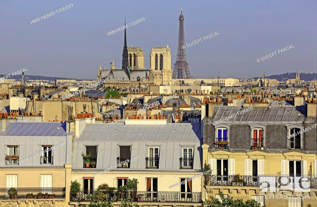 Stock Photo: France, Paris, area listed as World Heritage by UNESCO, Notre Dame cathedral on the City island, the Eiffel Tower and parisian rooftops.