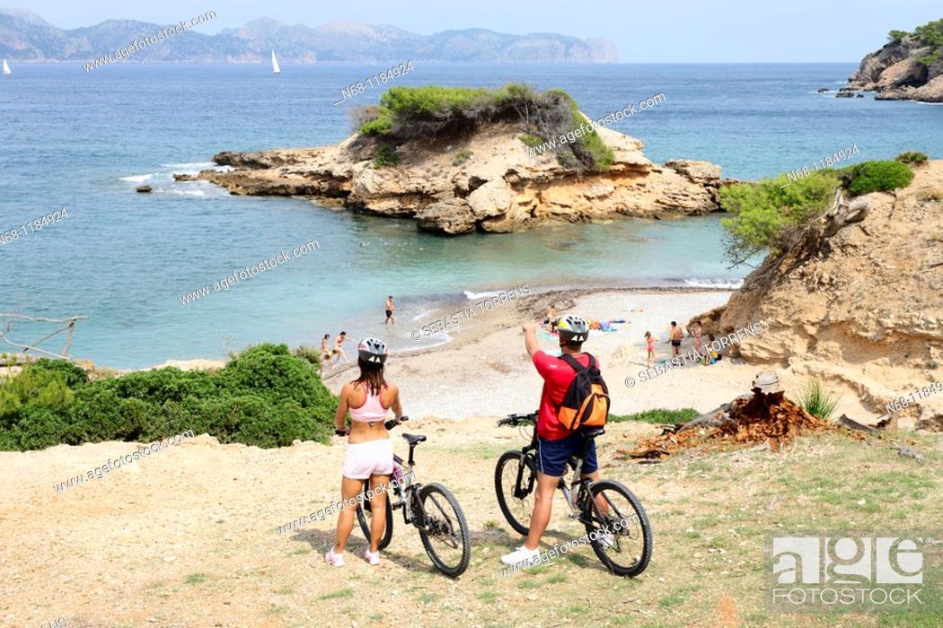 Stock Photo: Cycling in Alcudia, Majorca, Spain.
