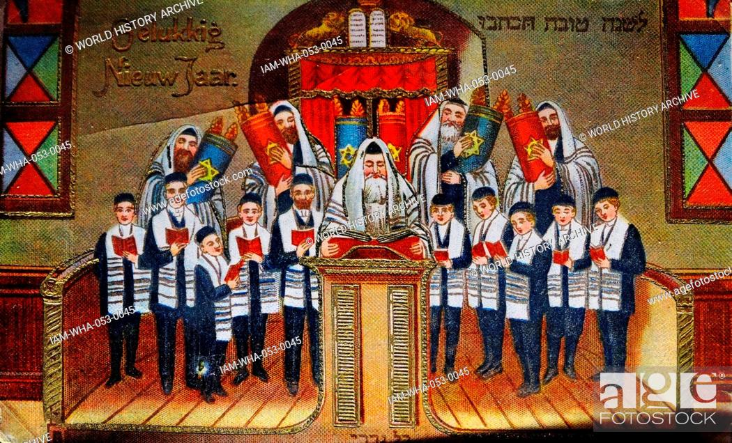 stock photo dutch new year card showing men and boys in a synagogue as the