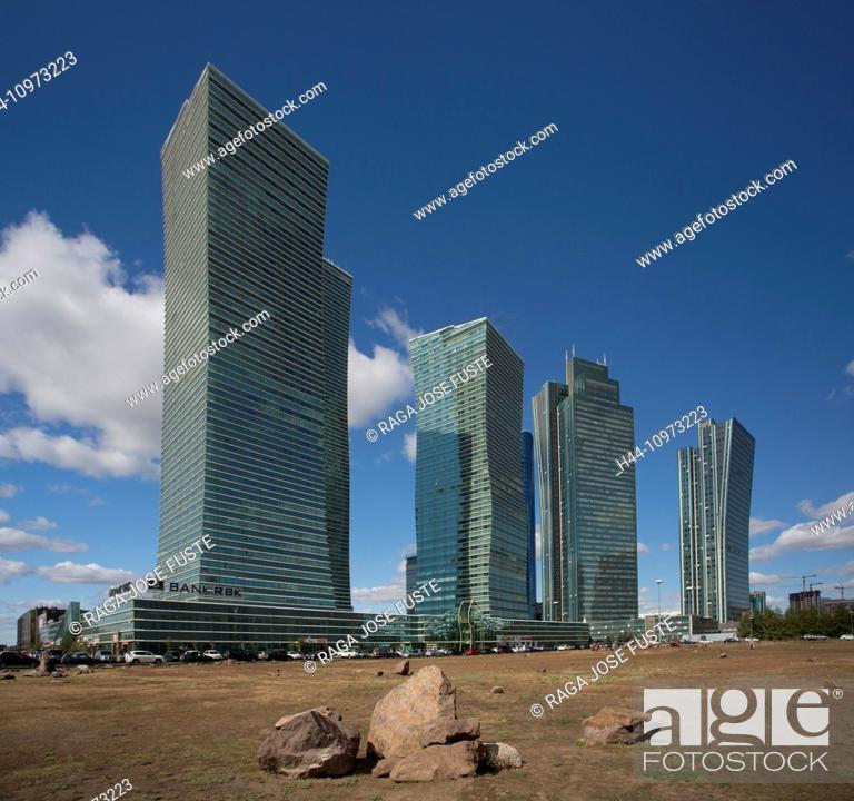 Stock Photo: Administrative City, Astana, City, Kazakhstan, Central Asia, New, Northern Lights, architecture, building, colourful, green, no people, touristic, towers.