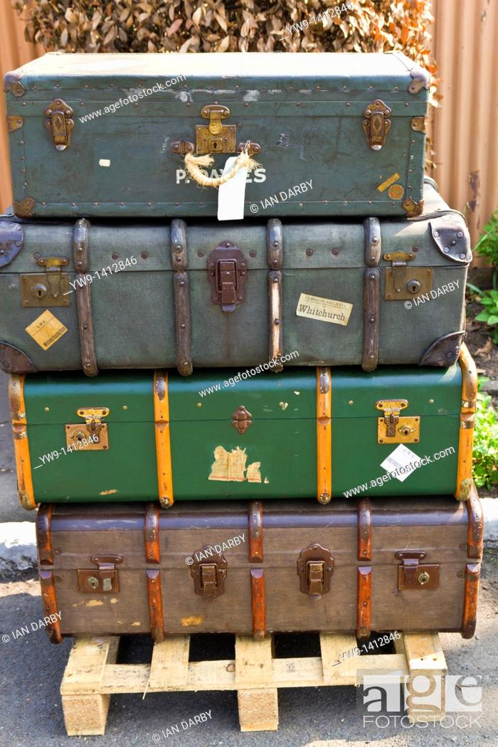 Stock Photo: Old luggage on show at Severn Valley Steam Railway.