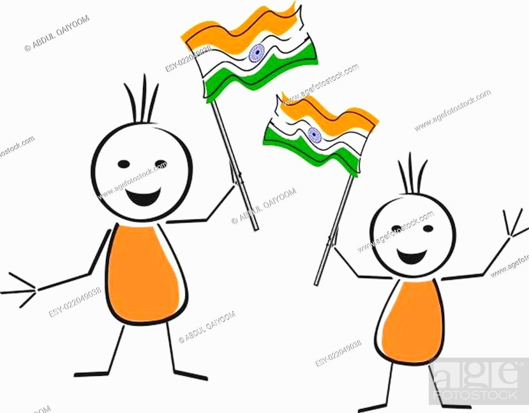 Stock Photo: A card of Republic Day with wave in Indian flag. Vector Illustration.