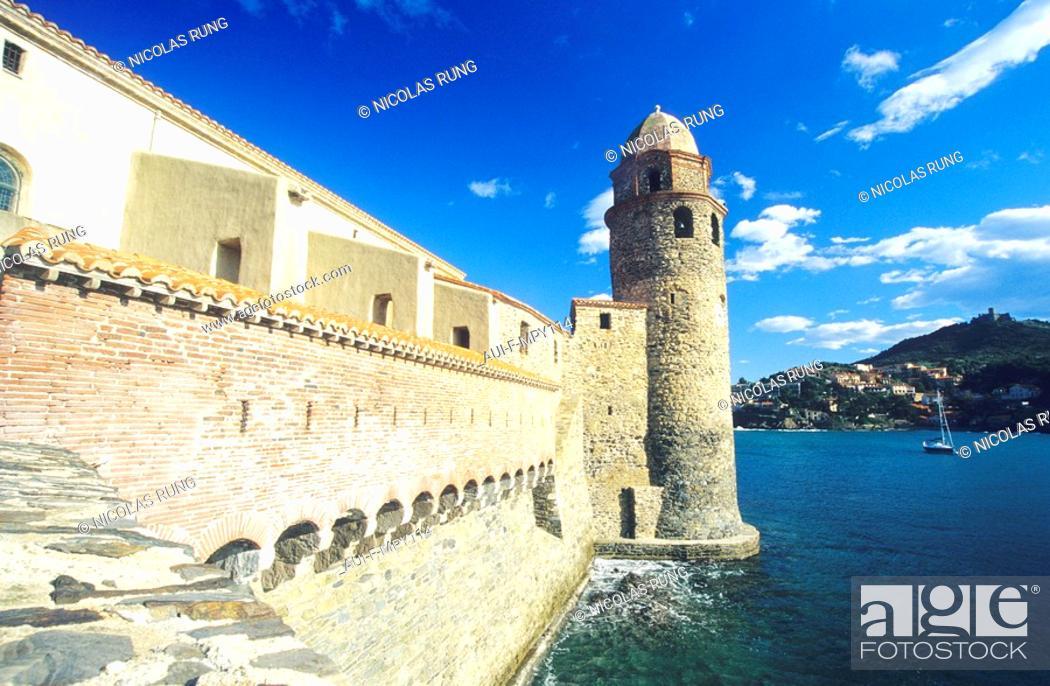 Stock Photo: France - Pyrenees Orientales - Collioure - Eglise Notre Dame des Anges.